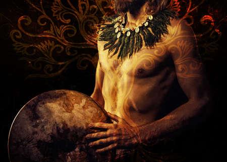 beautiful detail shamanic man with tree of life.
