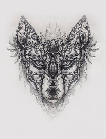 ornamental painting of wolf, sacred animal, eye contct Banco de Imagens