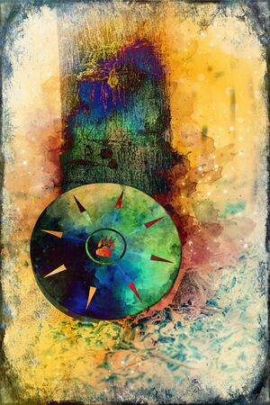 shamanic drum and softly blurred watercolor background Stock Photo