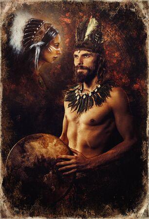 hermoso hombre chamánico y mujer con diadema.