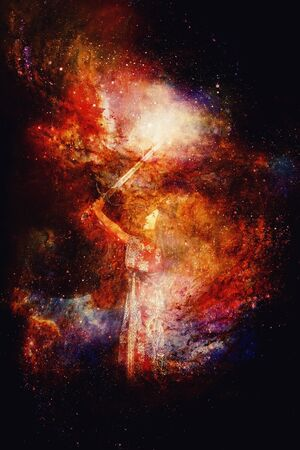 Woman with sword in beautiful cosmic space