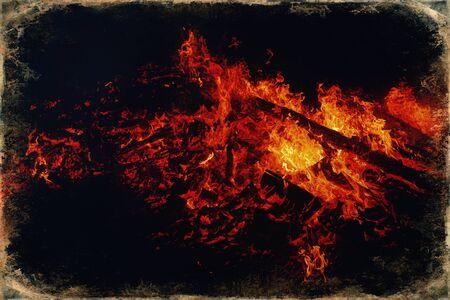 beautiful big fire on black night background, old photo effect Stockfoto