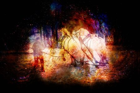 horse trener in winter landscape, on abstract structured space background 스톡 콘텐츠