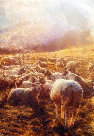 lambs grazing on a mountain meadow, Computer painting effect