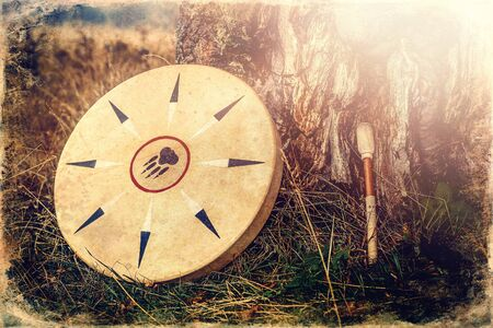 Shamanic drum in nature Reklamní fotografie