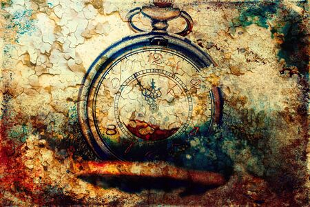 Clock showing five minutes to twelve. Time to stop and realize the values of life and painting effect Archivio Fotografico