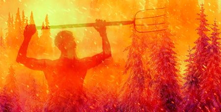 Burning spruce forest and man with guns. ecology concept Imagens