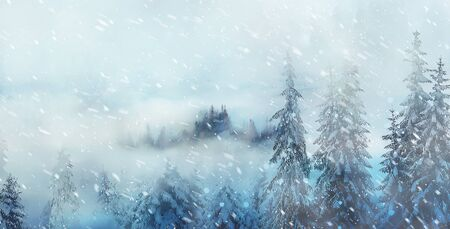 mountain snowy landscape and snow covered trees, graphic effect