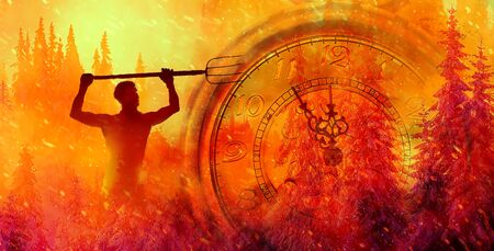 burning spruce forest. Clock showing five minutes to twelve. Time to stop and realize the values of life