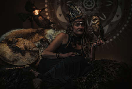beautiful shamanic woman with owl in the interiors.