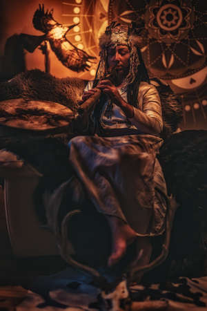 beautiful shamanic woman in the interiors.