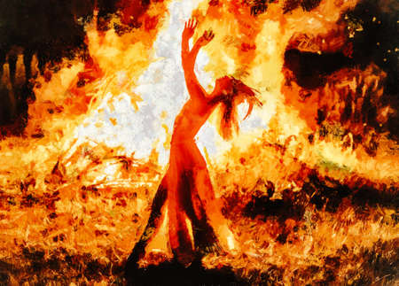 beautiful shamanic woman dancing by the fire. Painting effect. Reklamní fotografie