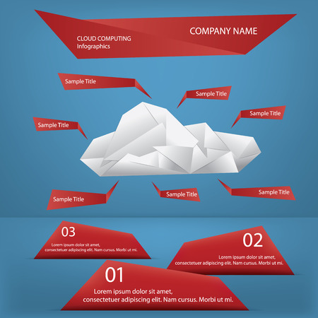Cloud Computing Origami Infographics Concept With Signs And Menu