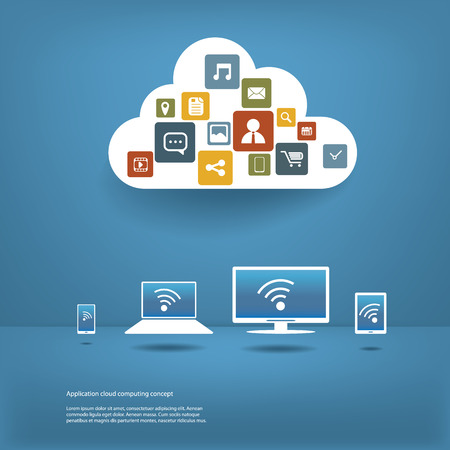 cloud storage: Cloud computing concept vector illustration with space for text suitable for presentations