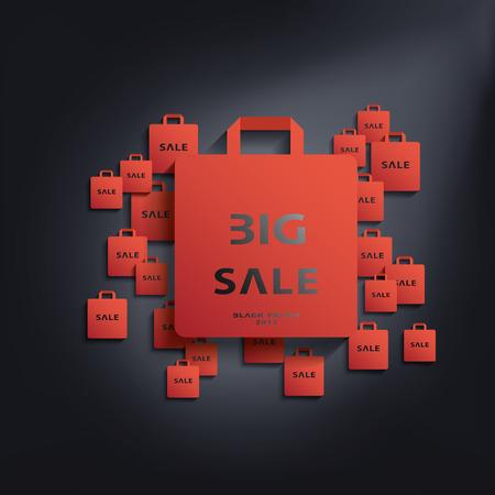 쇼핑, 전단지, 포스터 등의 홍보에 적합 검은 금요일 판매 기호 벡터 일러스트 레이 션