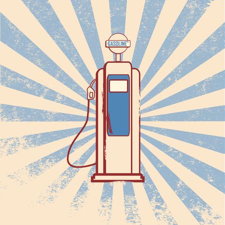 dispenser: Vintage gas dispenser sign with space for text Illustration