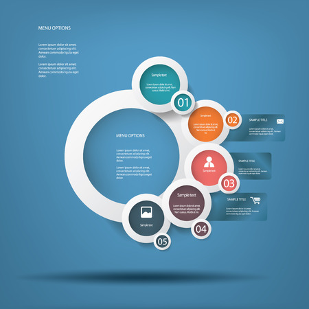 Round white infographic elements with various icons suitable for infographics, web layout, presentations, etc  Illustration