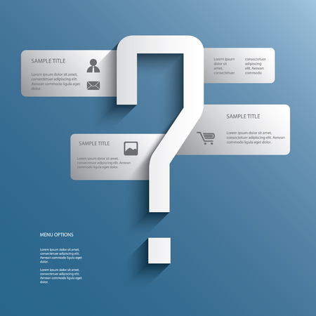 business for the middle: White infographics menu options with question mark in the middle suitable for business presentations or brochures