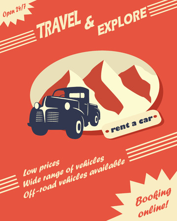 Vintage car rental flyer or leaflet design with space for text Vector