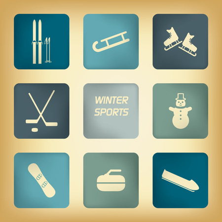 winter sports: Winter sport pictograms with various winter sports in vintage design