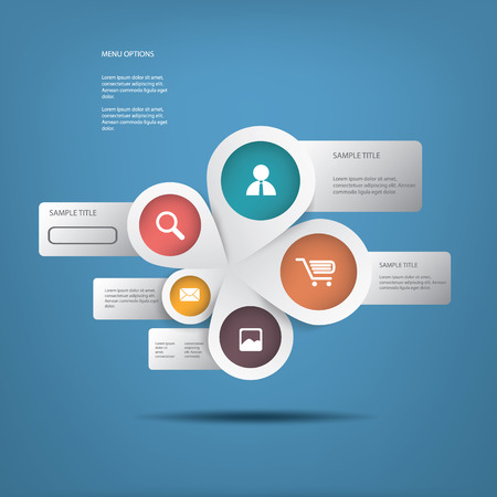 business for the middle: Round white infographics connected in middle suitable for business infographics, website development, business presentations