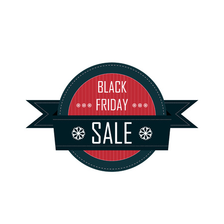 suitable: Black friday badge with ribbon and snowflakes suitable for sales promotion and advertising
