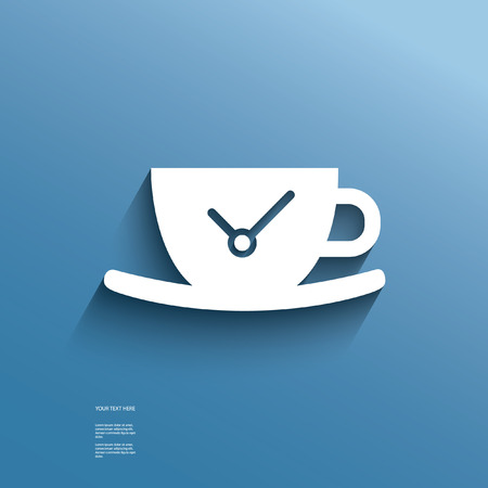 coffee break: Web icon with outer shadow depicting break or pause at work with time, suitable for website development
