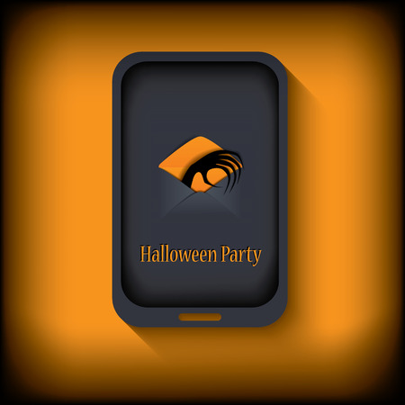 gloomy: Halloween postcard design in a smartphone suitable for halloween cards, party invitations, etc.