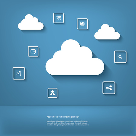 virtualization: Cloud computing concept vector illustration with space for text suitable for presentations or infographics
