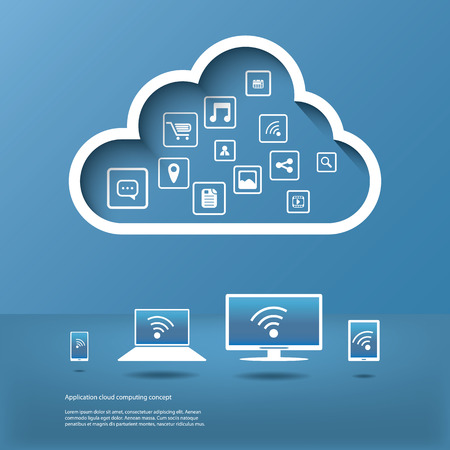 Cloud computing concept design suitable for business presentations, infographics, etc. Иллюстрация