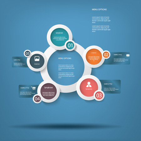 introduction: Round white infographic elements with various icons suitable for infographics, web layout, presentations, etc.