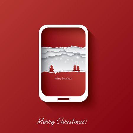 Christmas card concept design in smartphone background suitable for christmas postcards or invitations to sales etc.