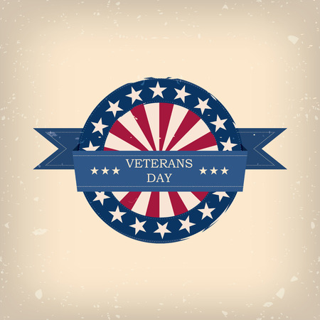 Veterans day badge eps10 vector illustration for posters, flyers, decoration etc.  イラスト・ベクター素材