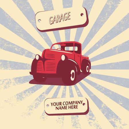 car repair shop: Vintage retro pickup truck car vector illustration suitable for promotion, t-shirt designs, etc.