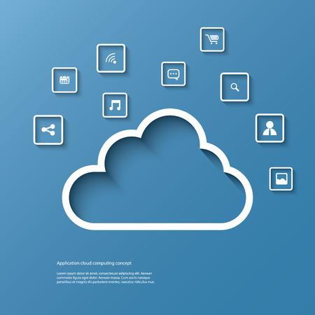 Cloud computing concept vector illustration with space for text suitable for presentations, infographics, brochures, etc.