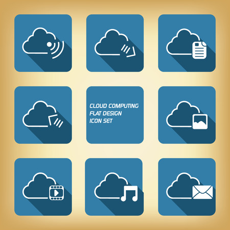 Cloud computing application concept with icons in the cloud and space for text Vector