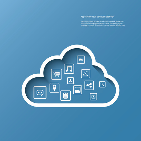 Cloud computing concept vector illustration with space for text suitable for presentations, infographics, brochures, etc. Vector
