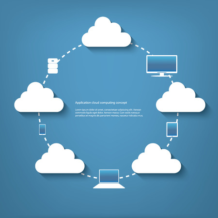 virtualization: Cloud computing concept vector illustration with applications icons and devices. Eps10 vector illustration