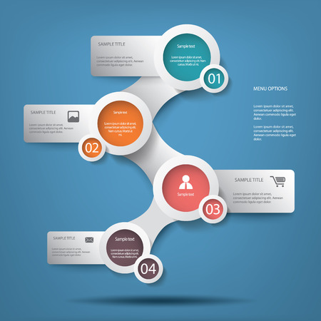newsletter template: Round white infographic elements with various icons suitable for infographics, web layout, presentations, brochures, etc.