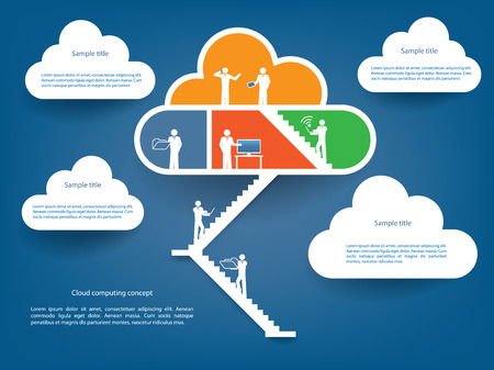 virtualization: Cloud computing infographics illustration vector with various elements which can be used for web or business presentations