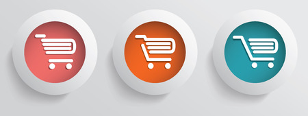 Basic business online shopping vector icons with three different shopping carts in modern colors Vector