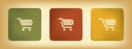 Basic business online shopping vector icons with three different shopping carts in vintage colors Vector