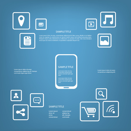 functionality: Smartphone or tablet infographics vector illustration with applications buttons and space for text