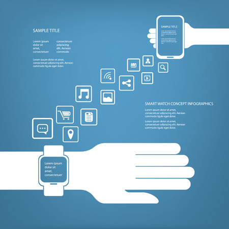 Smart watch concept infographics in modern flat design with space for text Illustration