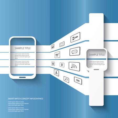 Intelligents concept de montre illustration infographie avec icônes d'applications dans l'espace 3D. Eps10 illustration vectorielle