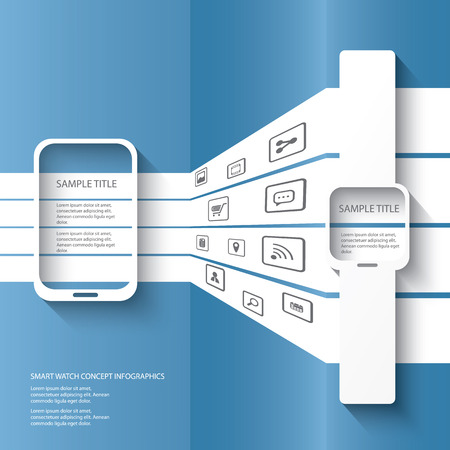 Smart watch concept illustration infographics with applications icons in 3d space. Eps10 vector illustration