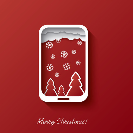 Christmas card concept design in smartphone background suitable for christmas postcards or invitations to sales etc. Vector