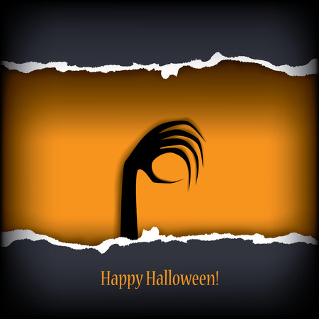 Halloween postcard vector illustration with scary theme and space for text Vector