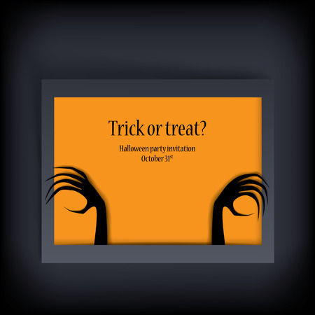 Halloween card vector illustration with scary hands and space for your text Vector