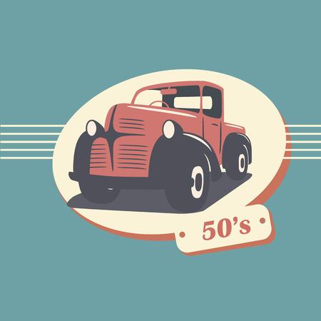 label retro: Vintage recogida retro coche cami�n ilustraci�n vectorial adecuado para la promoci�n, dise�os de camisetas, etc